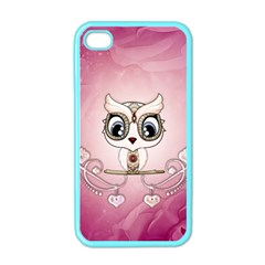 Cute Little Owl With Hearts Iphone 4 Case (color) by FantasyWorld7