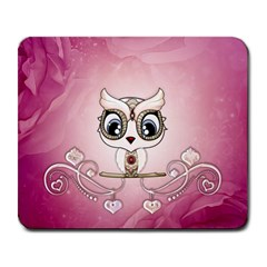 Cute Little Owl With Hearts Large Mousepads by FantasyWorld7