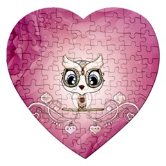 Cute Little Owl With Hearts Jigsaw Puzzle (heart) by FantasyWorld7