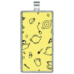 Tea Seamless Pattern Teatime Rectangle Necklace