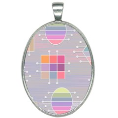 Pastels Shapes Geometric Oval Necklace