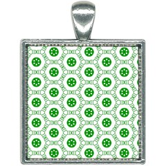 White Background Green Shapes Square Necklace