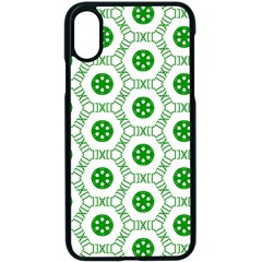 White Background Green Shapes Iphone Xs Seamless Case (black)