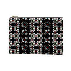 Pattern Black Background Texture Cosmetic Bag (large)