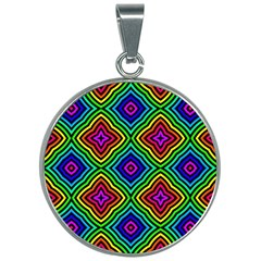 Pattern Rainbow Colors Rainbow 30mm Round Necklace