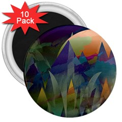 Mountains Abstract Mountain Range 3  Magnets (10 Pack)  by Nexatart