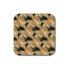 Scrapbook Leaves Decorative Rubber Square Coaster (4 Pack)