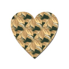 Scrapbook Leaves Decorative Heart Magnet by Nexatart