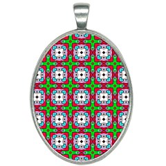 Squares Square Pattern Oval Necklace by Nexatart