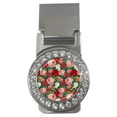 Roses Repeat Floral Bouquet Money Clips (cz)
