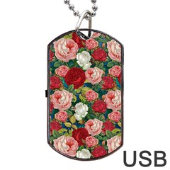Roses Repeat Floral Bouquet Dog Tag Usb Flash (one Side)