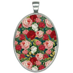 Roses Repeat Floral Bouquet Oval Necklace