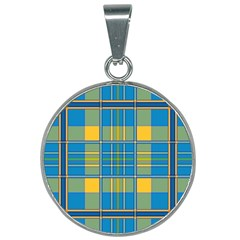 Plaid Tartan Scottish Blue Yellow 25mm Round Necklace