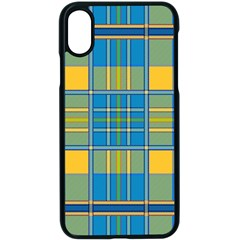 Plaid Tartan Scottish Blue Yellow Iphone Xs Seamless Case (black)