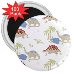 Dinosaur Animal Art Pattern 3  Magnets (100 Pack) by BangZart