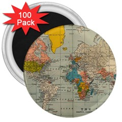 World Map Vintage 3  Magnets (100 Pack) by BangZart