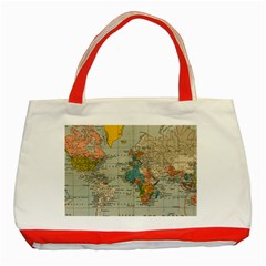 World Map Vintage Classic Tote Bag (red) by BangZart