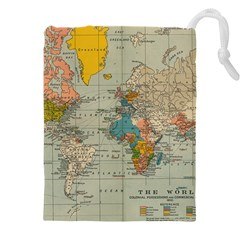 World Map Vintage Drawstring Pouch (xxxl)