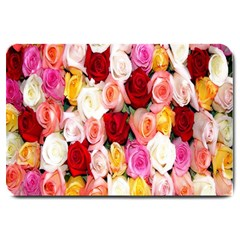 Roses Color Beautiful Flowers Large Doormat  by BangZart