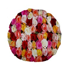 Roses Color Beautiful Flowers Standard 15  Premium Flano Round Cushions by BangZart