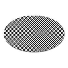 Mayan Pattern Black White Oval Magnet by Cveti