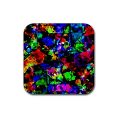 Multicolored Abstract Print Rubber Coaster (square)  by dflcprintsclothing