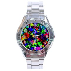 Multicolored Abstract Print Stainless Steel Analogue Watch by dflcprintsclothing