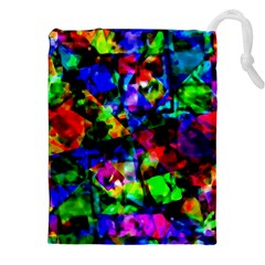 Multicolored Abstract Print Drawstring Pouch (xxl) by dflcprintsclothing
