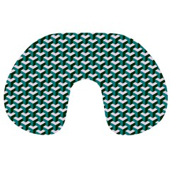 Pattern Green Blue Grey Hues Travel Neck Pillow