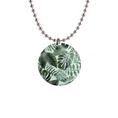 Medellin Leaves Tropical Jungle 1  Button Necklace by Pakrebo