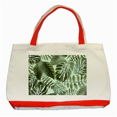 Medellin Leaves Tropical Jungle Classic Tote Bag (red) by Pakrebo