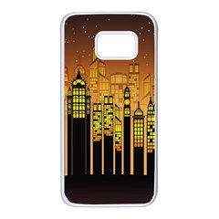 Buildings Skyscrapers City Samsung Galaxy S7 White Seamless Case