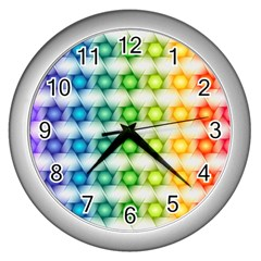Background Colorful Geometric Wall Clock (silver)