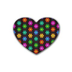 Pattern Background Colorful Design Rubber Coaster (heart)