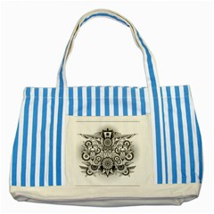 Forest Patrol Tribal Abstract Striped Blue Tote Bag by Pakrebo