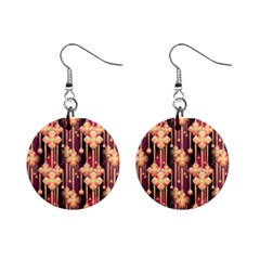 Illustrations Seamless Pattern Mini Button Earrings