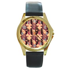 Illustrations Seamless Pattern Round Gold Metal Watch