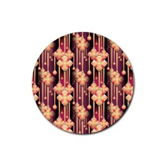 Illustrations Seamless Pattern Rubber Round Coaster (4 pack)