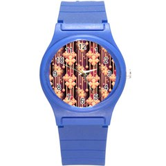 Illustrations Seamless Pattern Round Plastic Sport Watch (S)