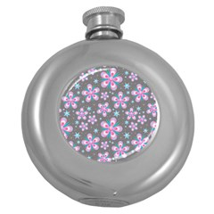 Seamless Pattern Flowers Pink Round Hip Flask (5 Oz)