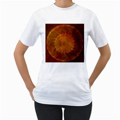 Orange Warm Hues Fractal Chaos Women s T Shirt (white)