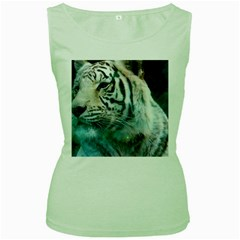 White Tiger Women s Green Tank Top