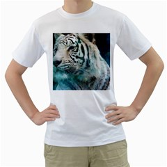White Tiger Men s T-shirt (white) (two Sided)