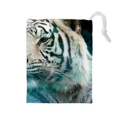 White Tiger Drawstring Pouch (large)