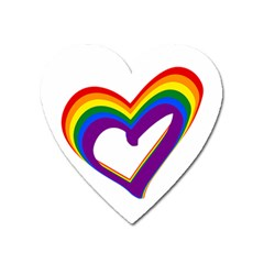 Rainbow Heart Colorful Lgbt Rainbow Flag Colors Gay Pride Support Heart Magnet by yoursparklingshop
