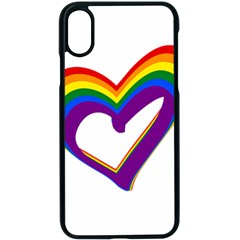 Rainbow Heart Colorful Lgbt Rainbow Flag Colors Gay Pride Support Iphone Xs Seamless Case (black) by yoursparklingshop