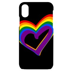Rainbow Heart Colorful Lgbt Rainbow Flag Colors Gay Pride Support Iphone X/xs Black Uv Print Case by yoursparklingshop