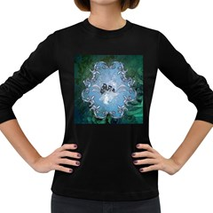 Surfboard With Dolphin Women s Long Sleeve Dark T-shirt by FantasyWorld7