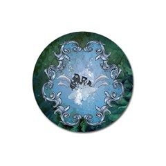 Surfboard With Dolphin Magnet 3  (round) by FantasyWorld7