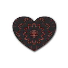 Fractal Glowing Abstract Digital Heart Coaster (4 Pack)